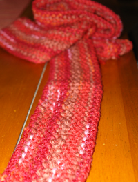 Sideways knit seed-stitch scarf