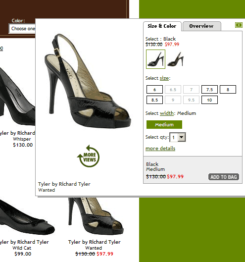 QuickLook view of a Richard Tyler shoe showing sizes that are not available