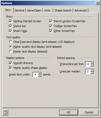 Visio dialog box showing option to Greek text below a specified point size