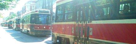 Conga line of TTC streetcars